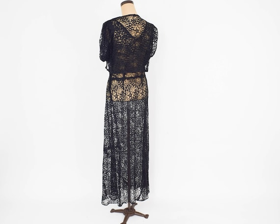 30s Black Lace Evening Dress Black Floral Lace Gown With Bolero Jacket Large