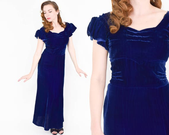 1930s Blue Silk Velvet Gown | 30s Midnight Blue Ve