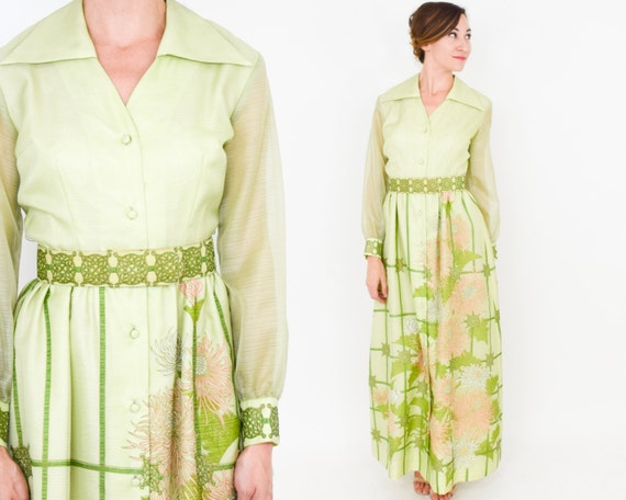 Alfred Shaheen | 1970s Green Maxi Dress | 70s Lim… - image 4