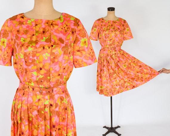1950s Orange Floral Dress | 50s Orange Flowered Dr