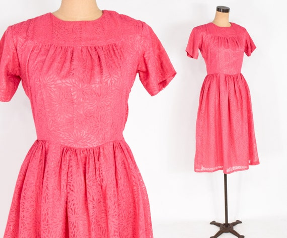 1950s Pink Floral Dress | 50s Bright Pink Chiffon
