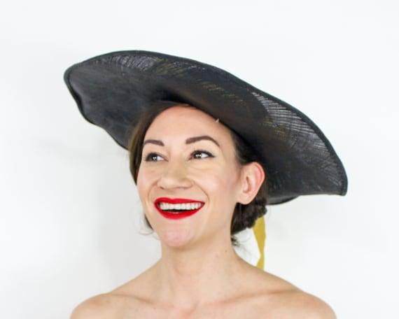 1940s Black Straw Sun Hat | 40s Black Wide Brim S… - image 4