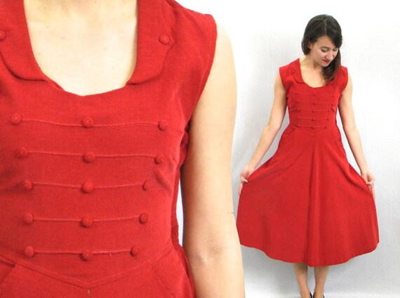 1950s Red Corduroy Dress | 50s Red Sleeveless Cord