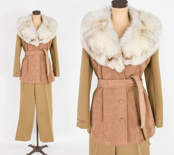 1970s Camel Knit Jacket Pant Suit | 70s Tan & Brow