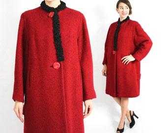 40s Red Wool Coat | Red Boucle Wool Coat | Persian Lamb Trim | Ricemore | Large