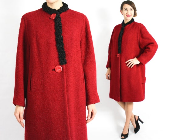 1940s Red Wool Coat | 40s Red Boucle Wool Coat | P