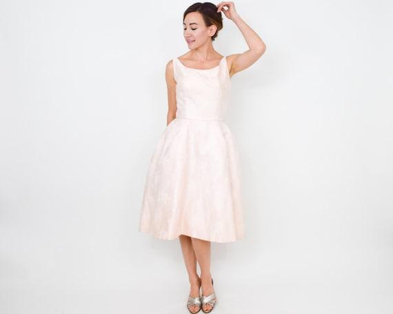 1950s Pink Brocade Party Dress | 50s Pink Brocade… - image 3