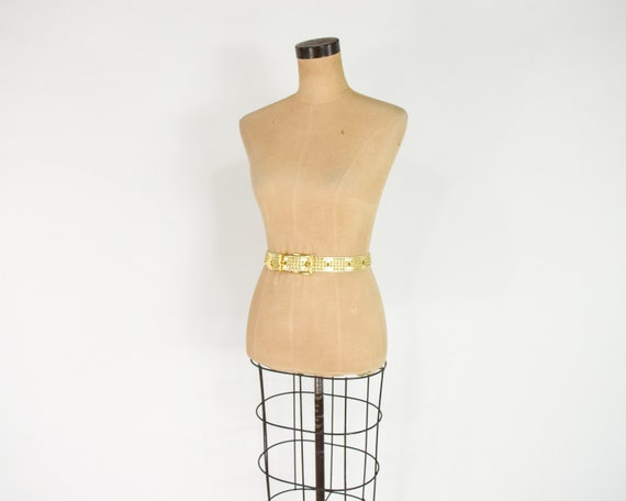 1980s Riveted Gold Leather Belt   80s Gold Leathe… - image 10