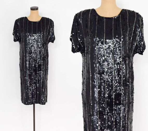 1980s Black Sequin Dress | 80s Sequin Shift Evenin