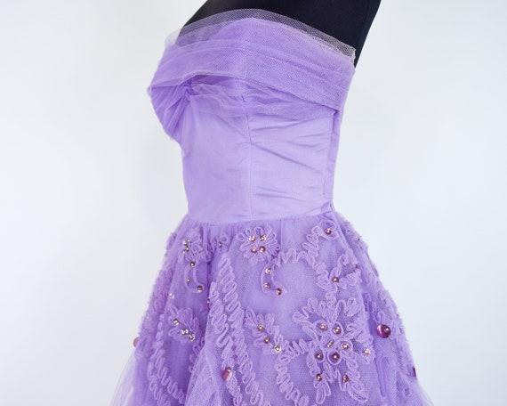 1940s Lavender Tulle Party Dress   40s Purple Tul… - image 6