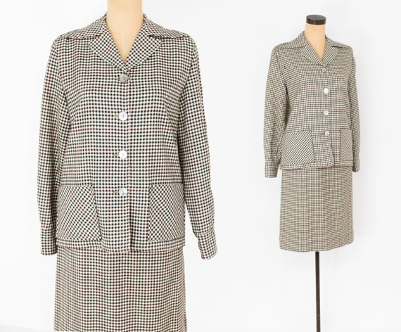 1940s Brown Wool Check Suit | 40s Brown & White Ch