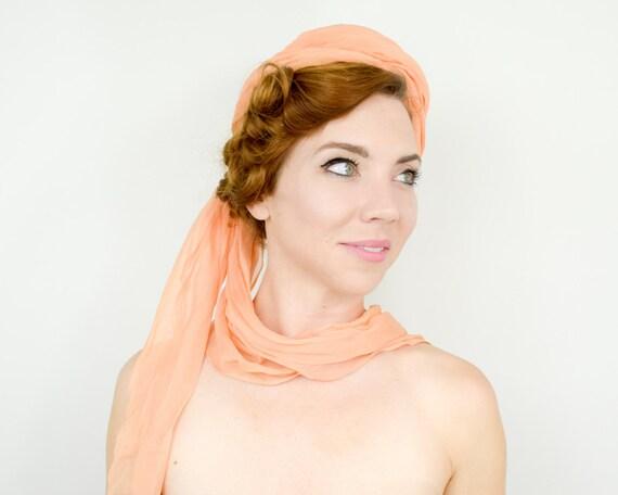 1950s Peach Silk Chiffon Hat   50s Orange Silk Ch… - image 4