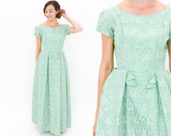 50s Green Evening Dress | Mint Green Lace Evening Dress | Prom Dress | Emma Domb | Small