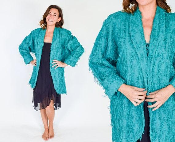 1980s Turquoise Cotton Oversized Jacket   80s Gree