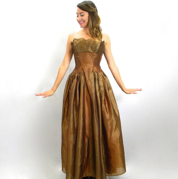 40s Brown Evening Dress | Copper Organza Strapless