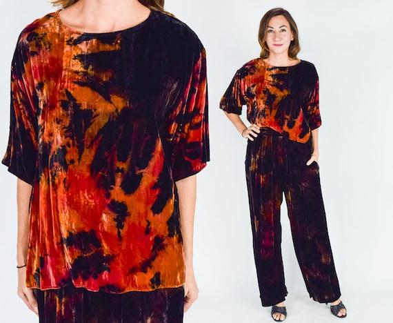 1980s Velvet Pants Set | 80s Painted Rayon Velvet