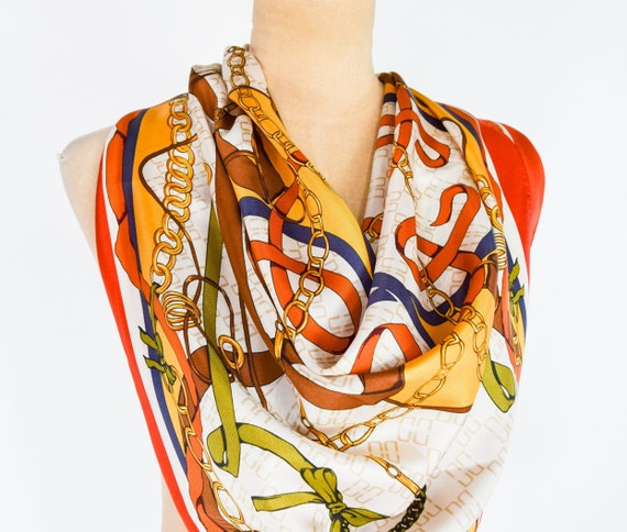 1980s Belts & Chains Silk Scarf | 80s Orange Gold