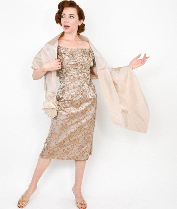 1950s Beige Silk Brocade Evening Dress & Wrap | 50