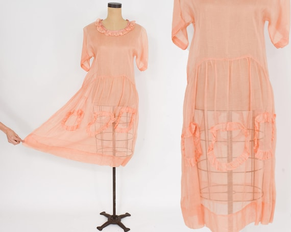 1930s Peach Organza Dress | 30s Peach Cotton Organ