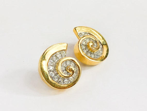 1980s Gold Rhinestone Swirl Earrings | 80s Gold &