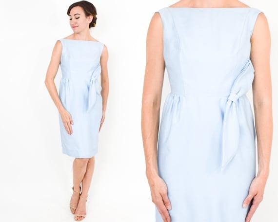 1950s Blue Sleeveless Cocktail Dress | 50s Pale Bl