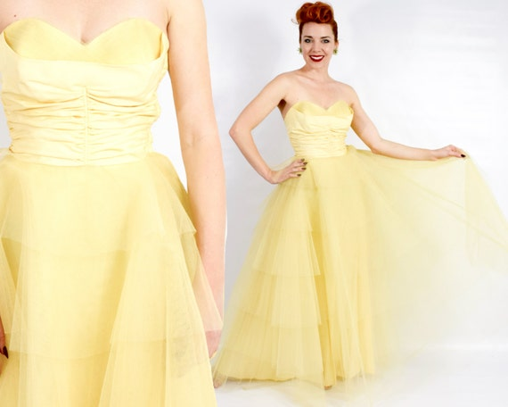 1940s Yellow Tulle Strapless Formal | 40s Yellow T