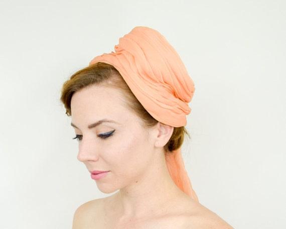 1950s Peach Silk Chiffon Hat   50s Orange Silk Ch… - image 2