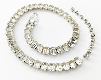 50s Rhinestone Necklace | Brilliant Single Strand | Eisenberg