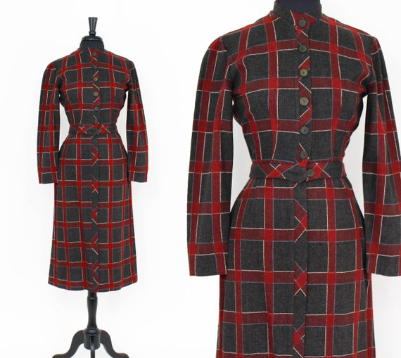 1950s Red & Gray Plaid Suit | 50s Gray Plaid Wool