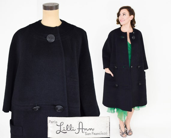 Lilli Ann | 1950s Black Wool Swing Coat | 50s Bla… - image 2