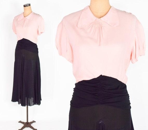 1930s Pink & Black Silk Dress | 30s Black Pink Sil