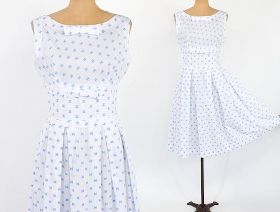 1950s White & Blue Cotton Sun Dress | 50s White Pr