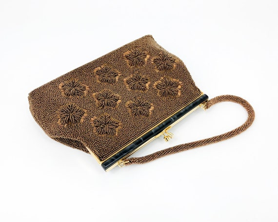 1960s Brown Beaded Evening Bag |60s Bronze Floral… - image 7