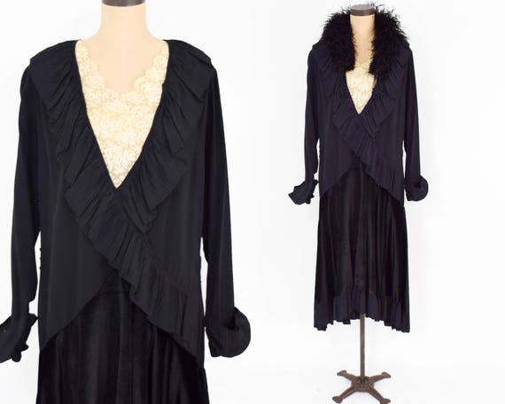 1900s Black Silk Dress | Black Silk & Velvet Dress