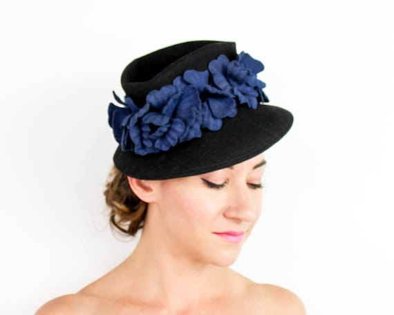 1940s Black Wool Felt Hat   40s Black & Blue Felt