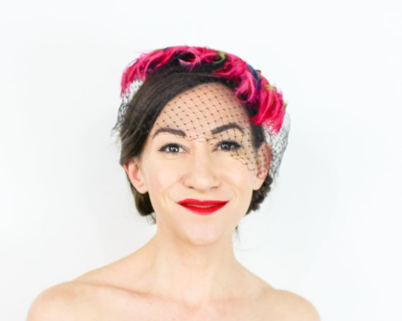 1950s Pink Feather Fascinator | 50s Magenta Feath… - image 7