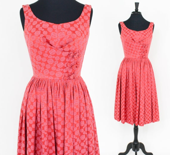 1950s Coral Brocade Party Dress | 50s Pink Cotton