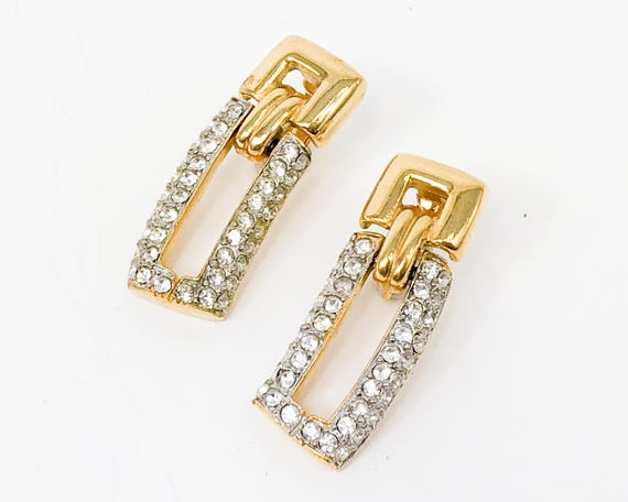 1980s Gold Rhinestone Earrings | 80s Rhinestone &