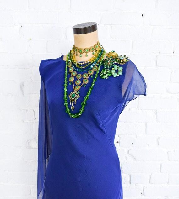 1990s Dark Blue Chiffon Evening Gown | 90s Blue I… - image 9