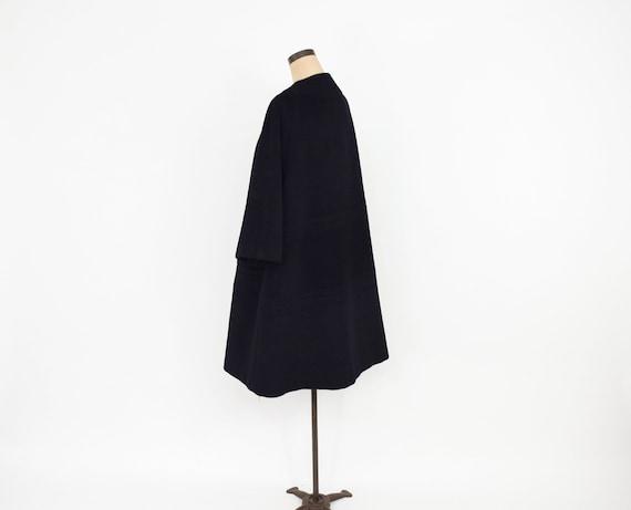 Lilli Ann | 1950s Black Wool Swing Coat | 50s Bla… - image 7