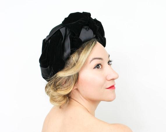 1940s Black Velvet Turban | 40s Black Velvet & Sat