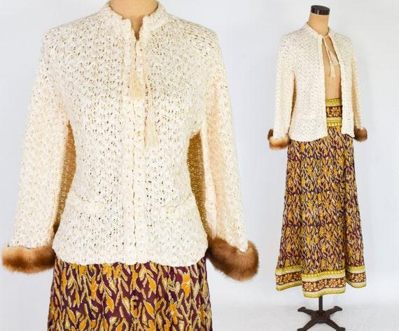1940s Creme Crochet Ribbon Cape-let |  1970s Gold