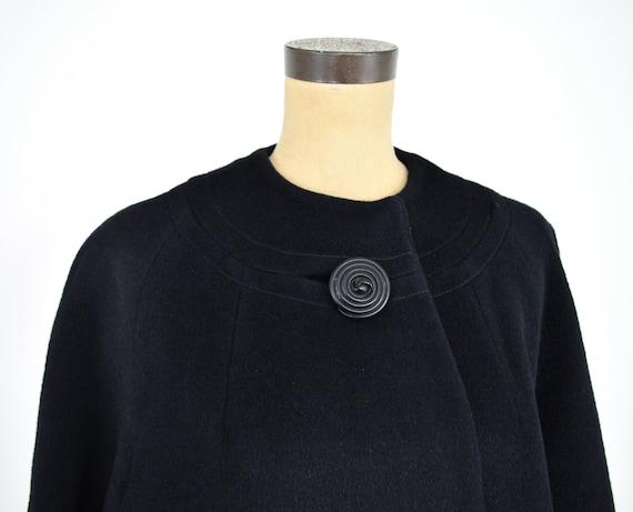 Lilli Ann | 1950s Black Wool Swing Coat | 50s Bla… - image 9