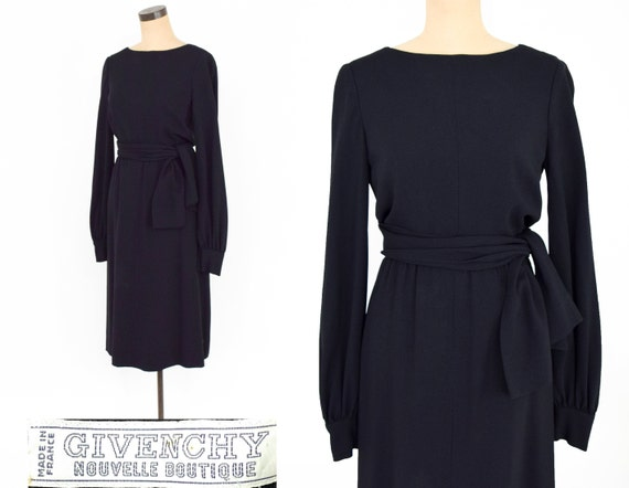 1960s Black Crepe Evening Dress | 60s Black Crepe… - image 1