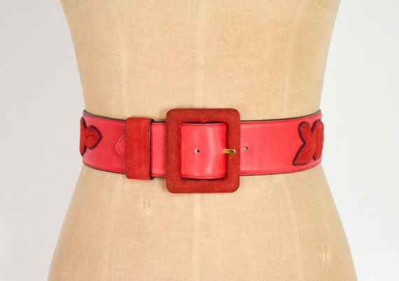 1980s Red Leather Belt | 80s Red Suede & Leather B