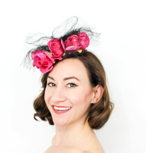 1940s Magenta Roses Fascinator | 40s Pink Roses Ti