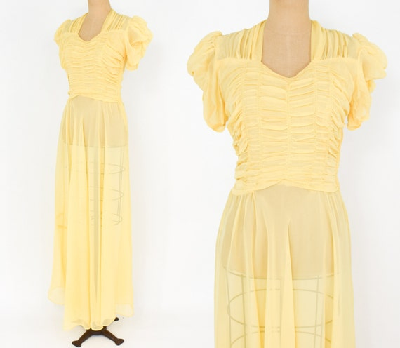 1940s Yellow Evening Gown | 40 Yellow Nylon Summer