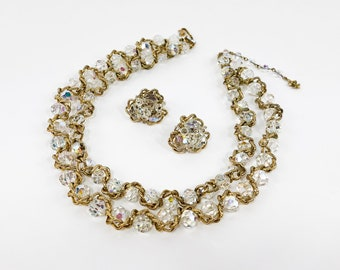 60s Crystal Necklace Set | Crystal & Gold Chain Set | Vendome