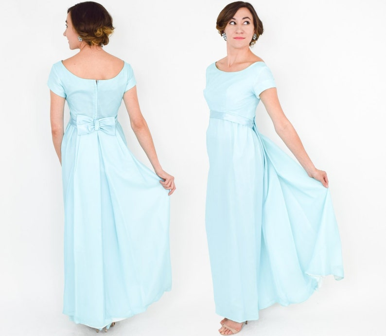 dcdfbeaeed5 60s Turquoise Evening Dress Bridesmaid Dress with Blue Veil