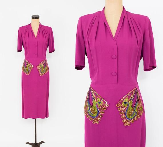 1940s Fuchsia Crepe Evening Dress | 40s Magenta Cr